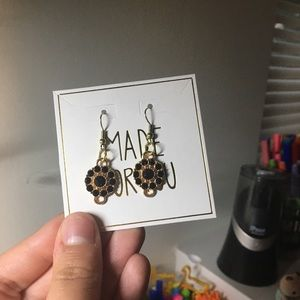 NWT Gold and Purple Gem Earrings